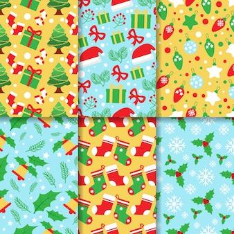Плоский дизайн рождественская коллекция шаблонов
