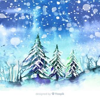 水彩の冬の町の壁紙