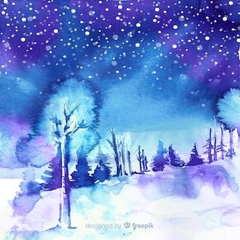 水彩の冬の風景の背景
