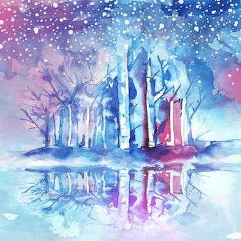 Снежная зима фон в акварели