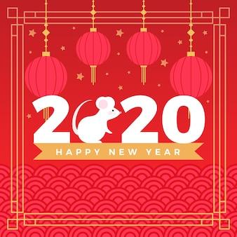 Китайский новый год фон с мышью