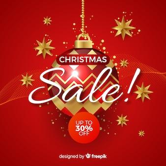 Рождественская распродажа баннеров реалистичный дизайн