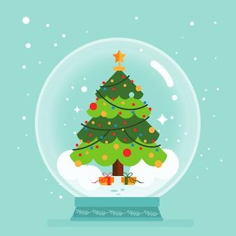フラットなデザインのクリスマスツリーの概念