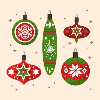 フラットなデザインのクリスマスボールセット