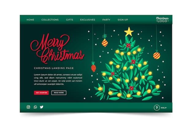 Ручной обращается рождественский шаблон страницы посадки