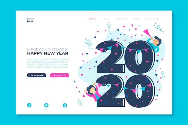 Новый год плоский дизайн целевой страницы