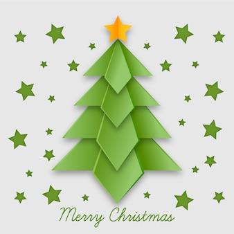 紙のスタイルのクリスマスツリーの背景色