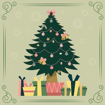 プレゼントとビンテージのクリスマスツリー
