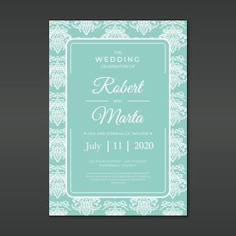 ダマスク織の結婚式の招待状のテンプレート