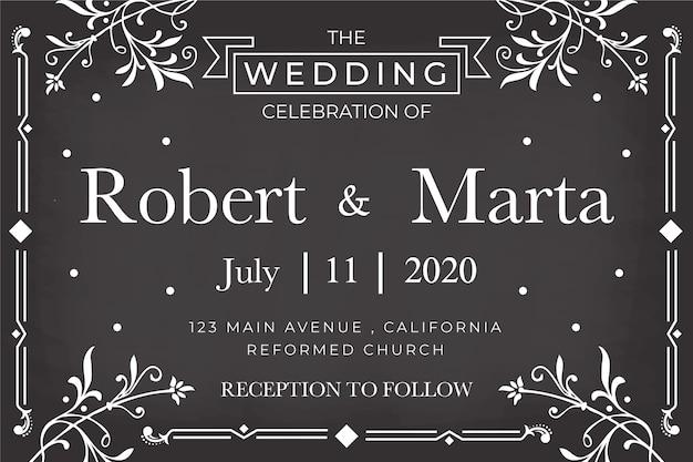 黒板に結婚式の招待状のテンプレート