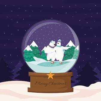 フラットなデザインのクリスマス雪玉グローブ