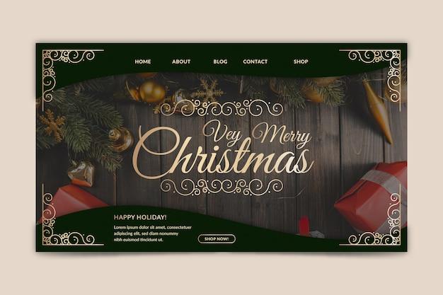 写真付きのクリスマスランディングページテンプレート