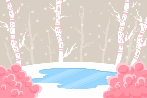 手描きの冬のコンセプト