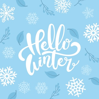 Привет зимняя концепция надписи