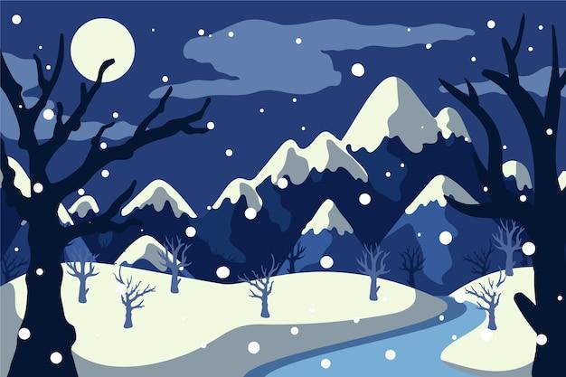 Зимний пейзаж концепция в рисованной