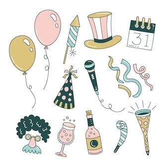 手描き新年パーティー要素コレクション
