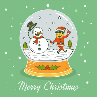 クリスマス雪玉グローブ手描き