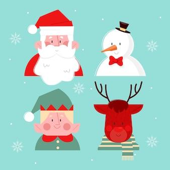 フラットなデザインのクリスマスキャラクターコレクション