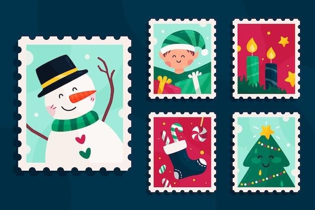 フラットなデザインのクリスマススタンプコレクション