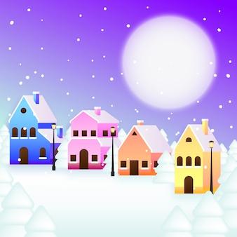 Рождественская концепция города в плоском дизайне