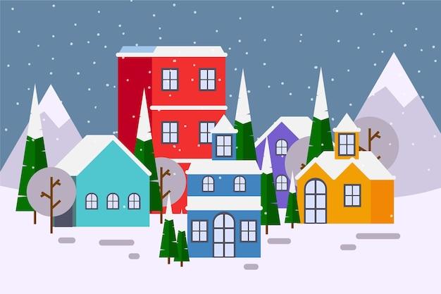 フラットなデザインのクリスマスタウンのコンセプト