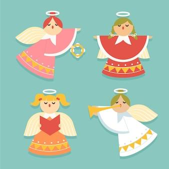Плоский дизайн коллекции рождественский ангел
