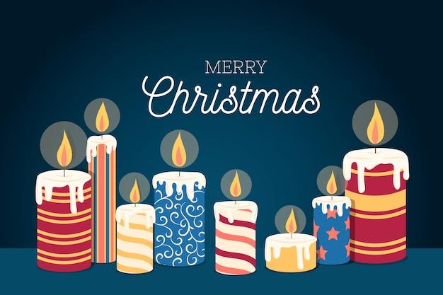 Плоский дизайн рождественская свеча фон
