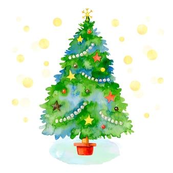 水彩でクリスマスツリーの概念
