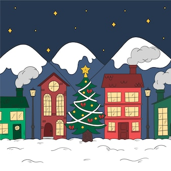 手描きのクリスマスタウンのコンセプト
