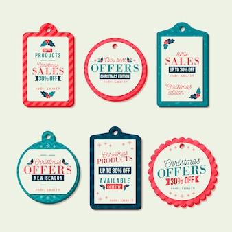 Плоский дизайн коллекции рождественские продажи тегов