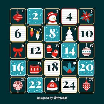 フラットなデザインのお祝いアドベントカレンダー