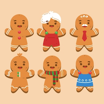 フラットなデザインのジンジャーブレッドマンクッキーコレクション