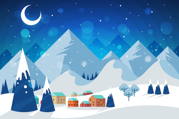 Концепция зимнего пейзажа в плоском дизайне