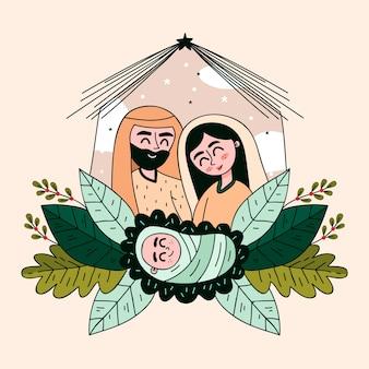 Нарисованная рукой концепция сцены рождества