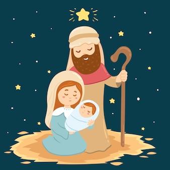 手描きのキリスト降誕のシーン