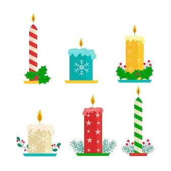 フラットなデザインのクリスマスキャンドルコレクション
