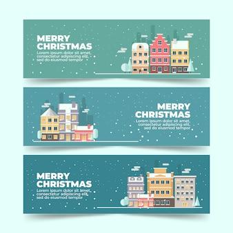 Плоский дизайн рождественских баннеров город шаблон