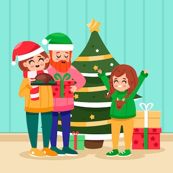 Рождественская семейная сцена в плоском дизайне