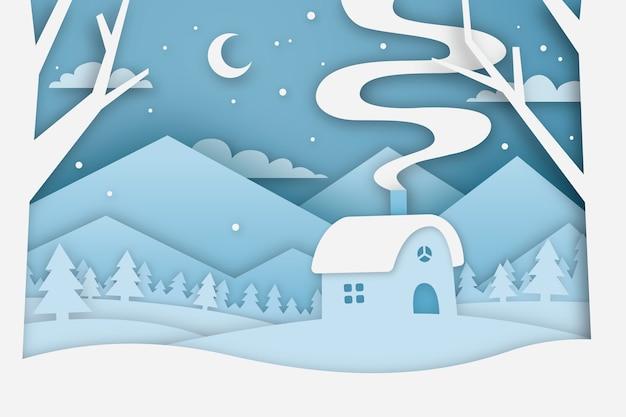 Зимняя концепция в бумажном стиле