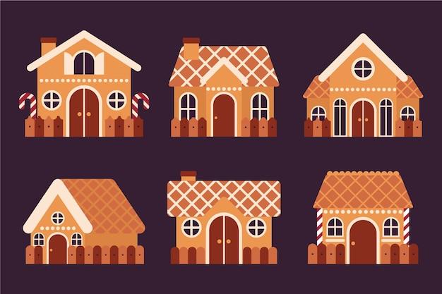 フラットなデザインのジンジャーブレッドハウスコレクション