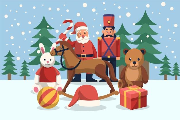 フラットなデザインのクリスマスおもちゃの背景
