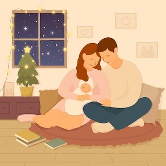 手描きクリスマス家族イラスト