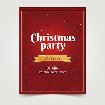 Нарисованный рукой шаблон плаката рождественской вечеринки