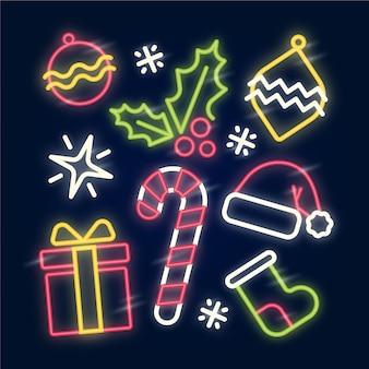 ネオンクリスマス要素のコレクション