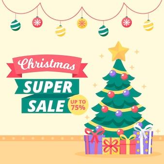 Супер распродажа рождество в плоском дизайне