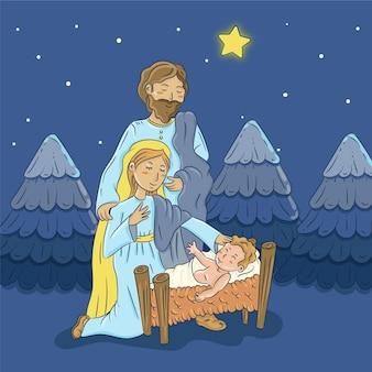 手描きのキリスト降誕のシーンの背景