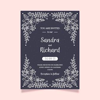 黒板にエレガントな結婚式の招待状のテンプレート