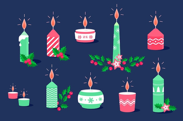 フラットデザインのクリスマスキャンドルパック