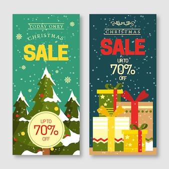 フラットなデザインのクリスマスセールバナーパック