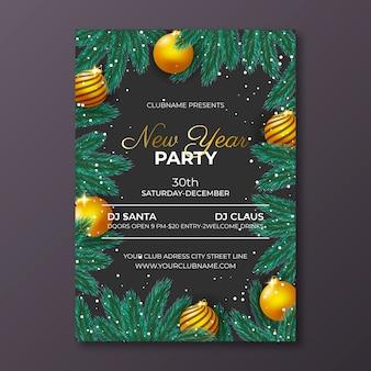 Шаблон реалистичной новогодней вечеринки флаера